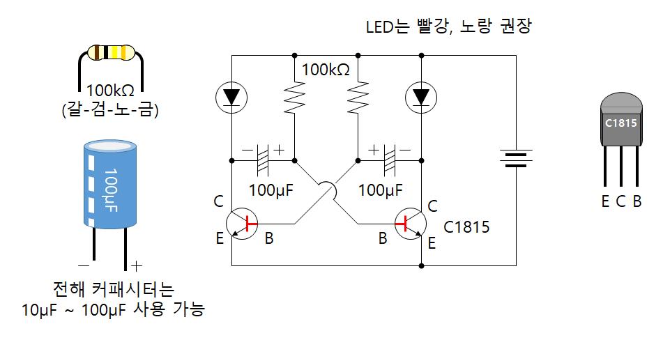 깜빡이 회로 (2 LED)