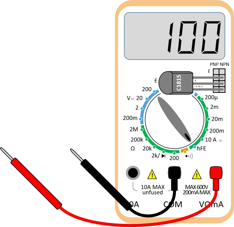 Multimeter hfe measurement